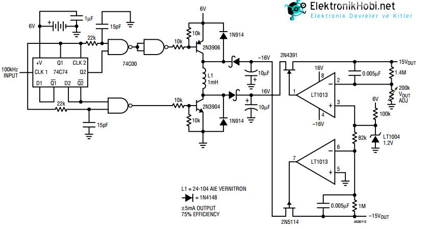 6V dan +-15V a yukselten konverter devresi
