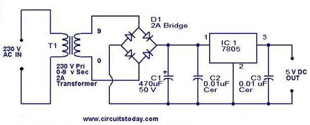 7805 li 5V güç kaynağı