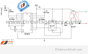 DTMF Cell Phone controlled home appliances engineering project circuit diagram