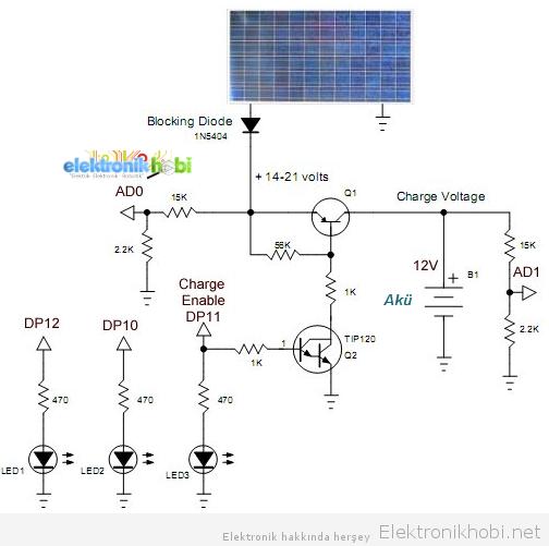 Güneş paneli şarj devresi (transistörlü)
