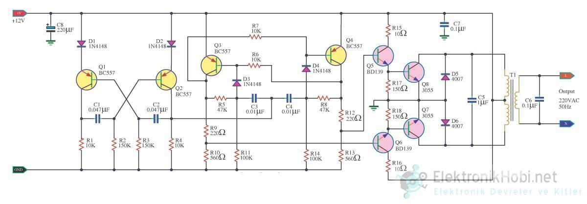 Transist 246 Rl 252 Inverter Devresi 100w 12v Gt 220velektronik